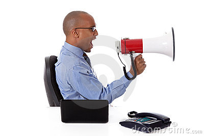 Young African American businessman, yelling