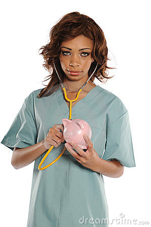 Young African American Doctor holding a piggy bank