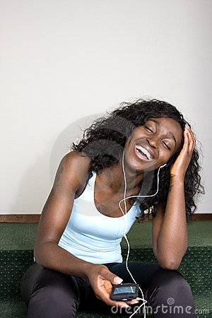 Young African American Female Listening to Music