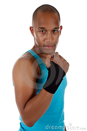Young  African American man athlete, bandaged