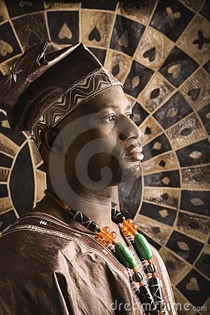 Young African American Man in Traditional African