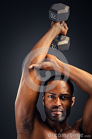 Young African American Man Triceps Workout