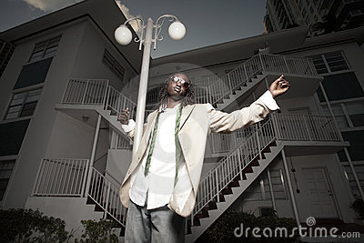 Young African American man in an urban setting