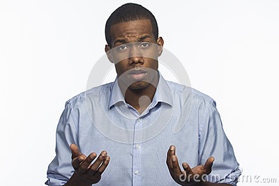 Young African American reacting to negative news, horizontal
