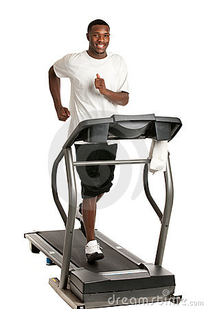 Young African American Running Treadmill