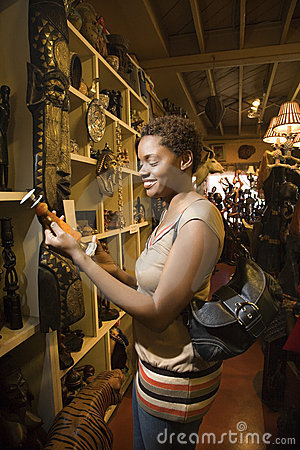 Young African American Woman Browsing in a Store