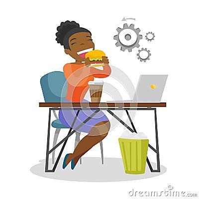 Free Young African-american Woman Eating Hamburger. Royalty Free Stock Photo - 114152735