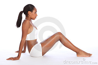 Young African American woman fit body in underwear