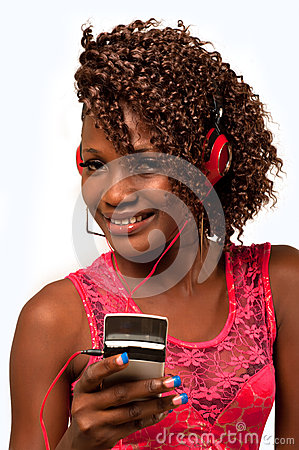 Young African American woman with headphones attac