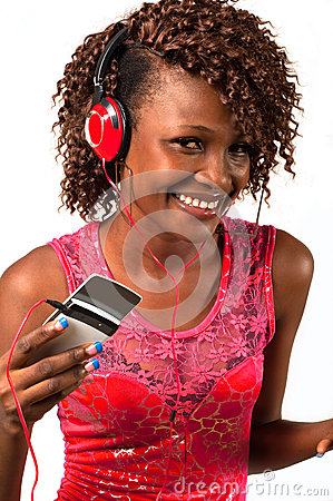 Young African American woman  with headphones