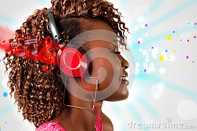 Young African American woman listening to music
