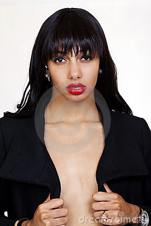 Young African American Woman Open Jacket Bare