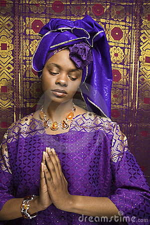 Free Young African American Woman Praying And Wearing T Royalty Free Stock Images - 12933009