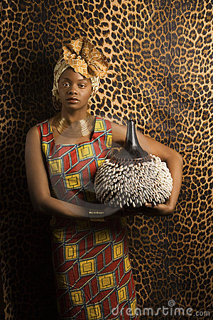 Young African American Woman in Traditional Africa