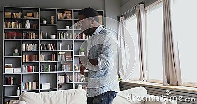 Young african man dancing teacher record tutorial vlog dance class. Young handsome african man dancing teacher vlogger record tutorial vlog dance class teach stock video footage
