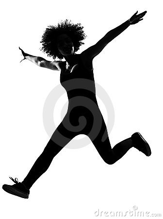 Young afro american woman silhouette happy jumping