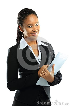 Free Young American African Business Woman With Clipboard Royalty Free Stock Photography - 29074637