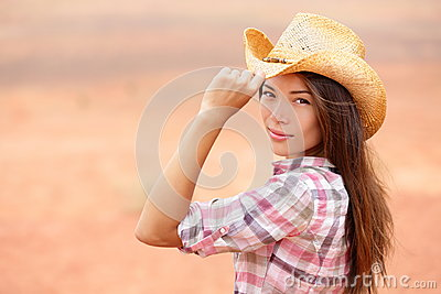 Young american cowgirl woman