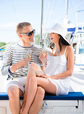 Free Young And Beautiful Couple Have A Party On A Luxury Sailing Boat Stock Photos - 66582123