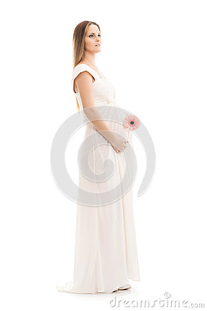 Free Young And Beautiful Pregnant Woman In Antique Dress Over Grey Background Stock Image - 56574101