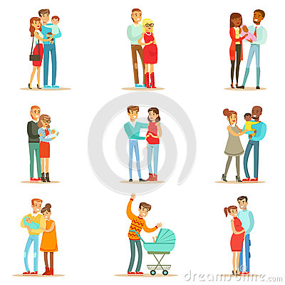 Free Young And Expecting Parents With Small Babies And Toddlers Set Of Happy Full Family Portraits. Royalty Free Stock Photo - 84488905