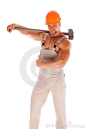 Free Young And Handsome Builder With A Sledgehammer And Stock Photos - 23728003