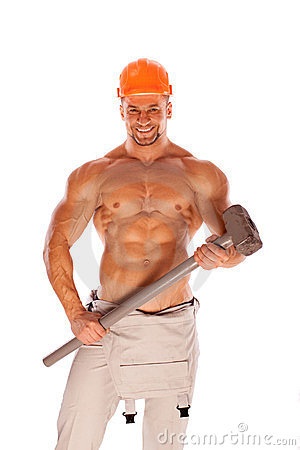 Free Young And Handsome Builder With A Sledgehammer And Royalty Free Stock Photos - 23728048