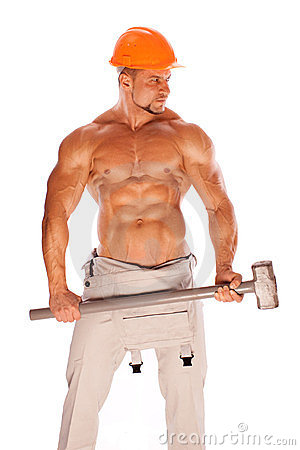 Free Young And Handsome Builder With A Sledgehammer And Royalty Free Stock Photo - 23743695