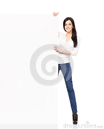 Free Young And Happy Woman In Jeans Holding A Banner Stock Image - 40416671