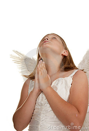 Young angel girl praying
