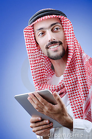 Young arab with tablet