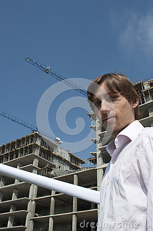 Young Architect Infront of  Construction Site