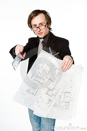 Young architect with sketch and ruler