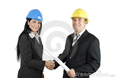 Young architects shaking hands
