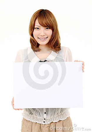Young asian business woman holding empty white boa