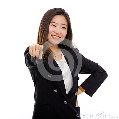 Young Asian business woman indicate camera.