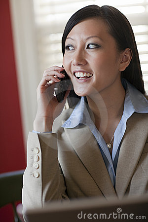 Young Asian Businesswoman on her phone
