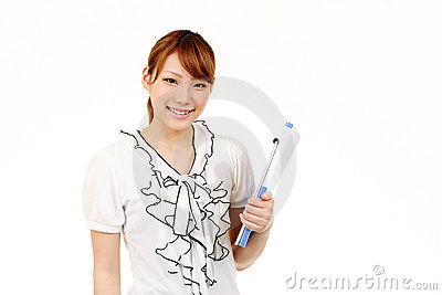 Young asian businesswoman holding file document