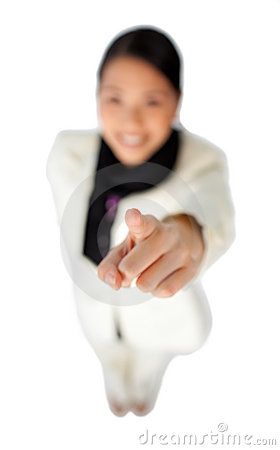 Young asian businesswoman pointing at the camera