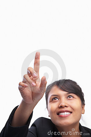 Young Asian businesswoman pointing finger