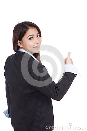 Free Young Asian Businesswoman Turn Back Thumbs Up Royalty Free Stock Photo - 48513805