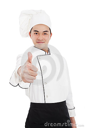 Young chef with thumb up