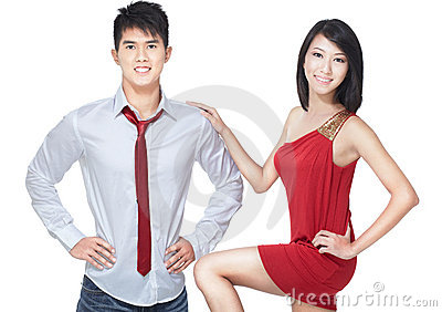 Young, asian, Chinese couple on romantic date
