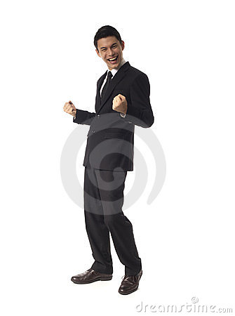 Young Asian Corporate Man double fist pump
