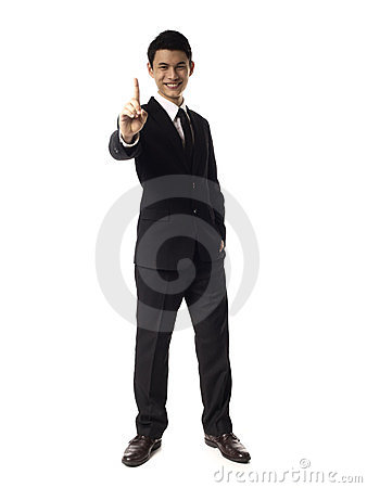 Young Asian Corporate Man with one finger