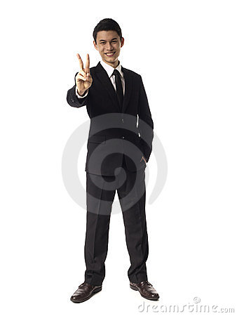 Young Asian Corporate Man two fingers