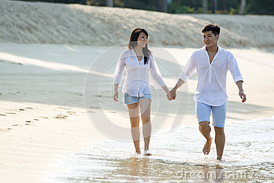 Young Asian couple on the beach.