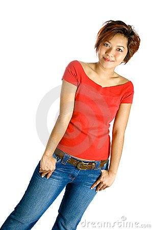 Young Asian female in bright red casual top and je