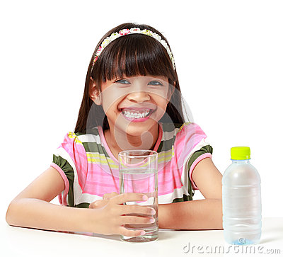 young asian girl with a glass of water