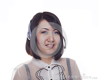 Young Asian girl with a headset, Kazakh